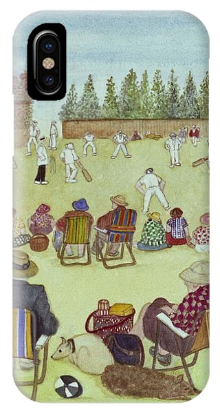 Cricket iPhone Case - Cricket On The Green, 1987 Watercolour On Paper by Gillian Lawson