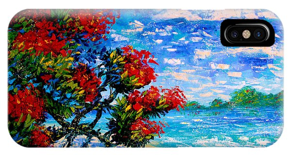 Crimson Bloom Red Flower Tree At The Beach Blue Sky Landscape IPhone Case