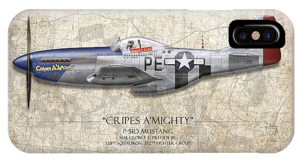 Cripes A Mighty P-51 Mustang - Map Background IPhone Case