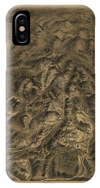 Antique Map - Cripple Creek Mining District Birdseye Map - 1895 IPhone Case