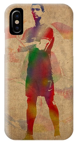 Cristiano Ronaldo iPhone Case - Cristiano Ronaldo Soccer Football Player Portugal Real Madrid Watercolor Painting On Worn Canvas by Design Turnpike