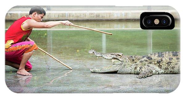 Crocodile iPhone Case - Crocodile Display by Pan Xunbin