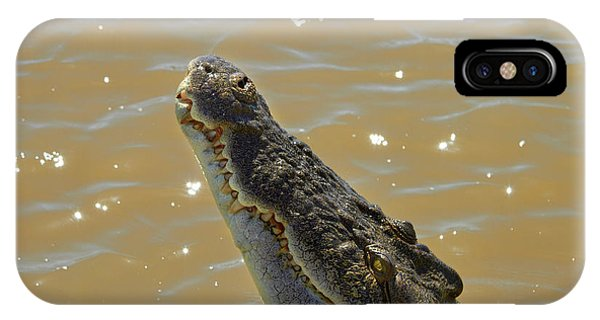 Crocodile iPhone Case - Crocodile Jumping Out Of The Water by David Wall