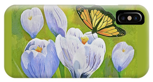 Crocus And Monarch Butterfly IPhone Case
