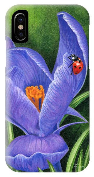 Color Pencil iPhone Case - Crocus And Ladybug by Sarah Batalka