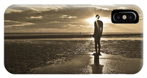 Crosby Beach Sepia Sunset Phone Case by Paul Madden