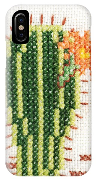 Grenn iPhone Case - Cross-stitch Embroidery Of Cactus With Flower by Kerstin Ivarsson