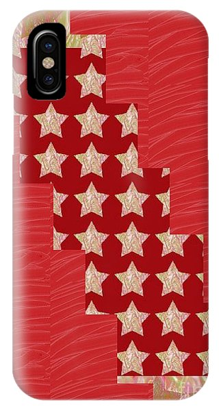 Rights Managed Images iPhone Case - Cross Through Sparkle Stars On Red Silken Base by Navin Joshi