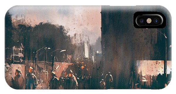 Business iPhone Case - Crowd Of People Walking In The by Tithi Luadthong