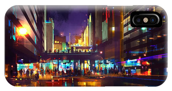 Exterior iPhone Case - Crowds Of People At A Busy Crossing In by Tithi Luadthong