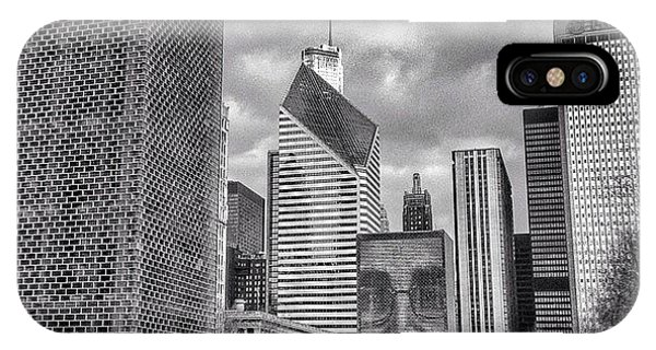Chicago Crown Fountain Black And White Photo IPhone Case