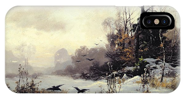 Crows In A Winter Landscape IPhone Case