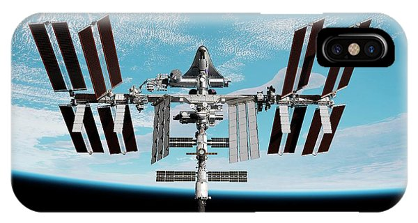 International Space Station iPhone Case - Cruise Shuttle Docked With The Iss by Nasa/walter Myers/science Photo Library