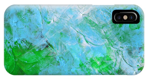 Crystal Cave - Green Pale Blue Abstract By Chakramoon Phone Case by Belinda Capol