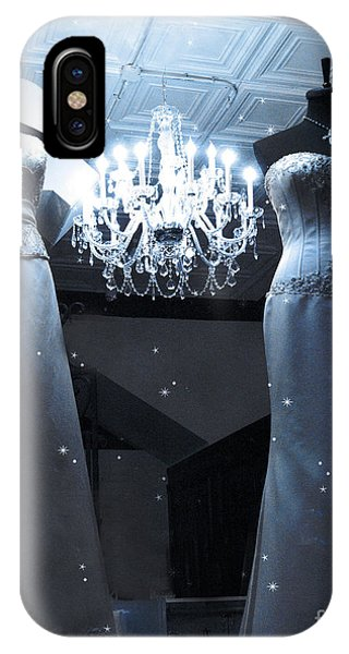 Window Shopping iPhone Case - Crystal Chandelier Opulence - Elegant Paris Fashion Couture Starry Night Chandelier Illumination by Kathy Fornal