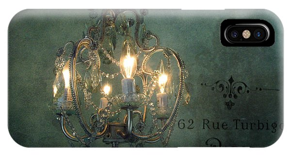 Teal iPhone Case - Crystal Chandelier - Paris Dreamy Teal Chandelier - Sparkling Romantic Teal Chandelier Opulence by Kathy Fornal