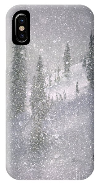 Crystalized Snowflakes Falling While Being Backlit By The Sun IPhone Case