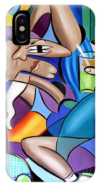 IPhone Case featuring the painting Cubist Tennis Player by Anthony Falbo
