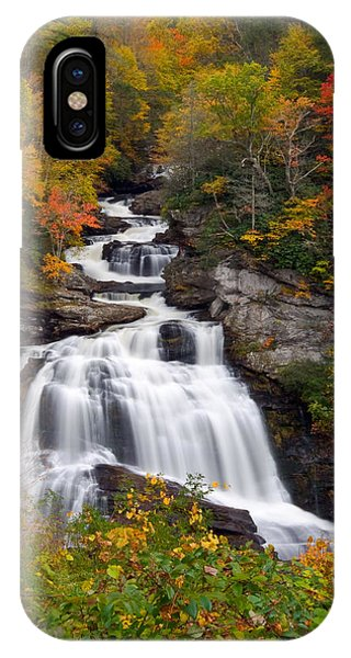 Cullasaja Falls - Wnc Waterfall In Autumn IPhone Case