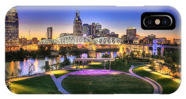 Cumberland Park And Nashville Skyline Phone Case by Lucas Foley