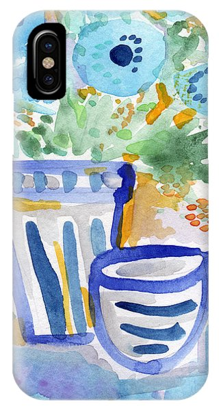 Blue And White iPhone Case - Cups And Flowers-  Watercolor Floral Painting by Linda Woods