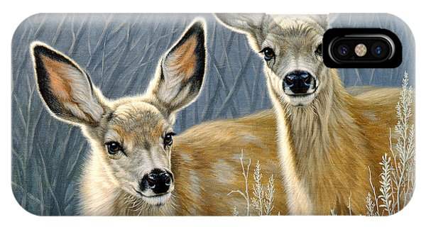 Mule Deer iPhone Case - Curious Pair by Paul Krapf