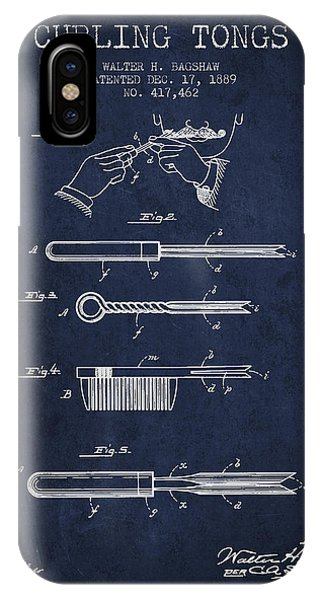 Patent Drawing iPhone Case - Curling Tongs Patent From 1889 - Navy Blue by Aged Pixel