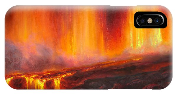 Erupting Kilauea Volcano On The Big Island Of Hawaii - Lava Curtain IPhone Case
