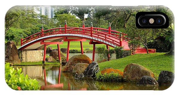 Curved Red Japanese Bridge And Stream Chinese Gardens Singapore IPhone Case