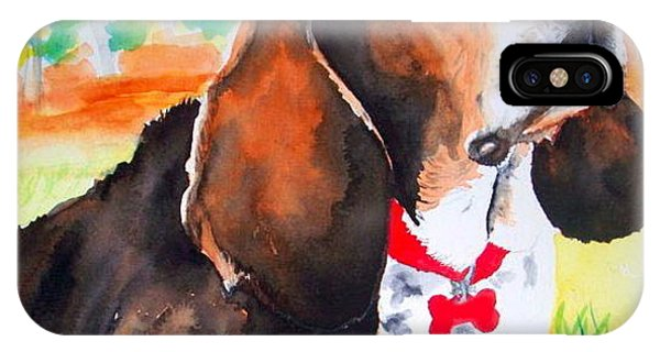 Custom Watercolor Portrait Of A Basset Hound IPhone Case