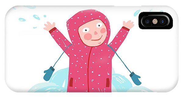 Humor iPhone Case - Cute Child Girl In Winter Clothes by Popmarleo
