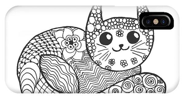 Cute Kitten iPhone Case - Cute Kitten. Black White Hand Drawn by Palomita
