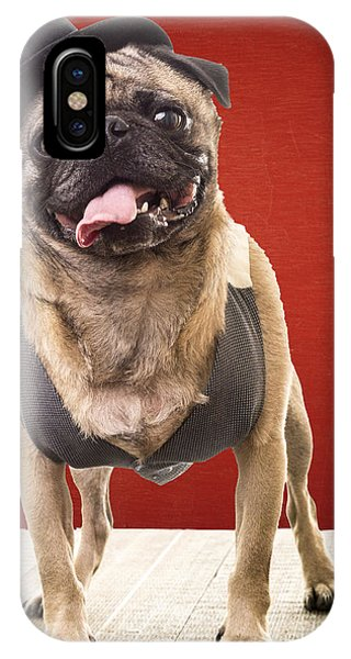 Pug iPhone Case - Cute Pug Dog In Vest And Top Hat by Edward Fielding