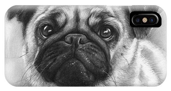 Pencil iPhone Case - Cute Pug by Olga Shvartsur