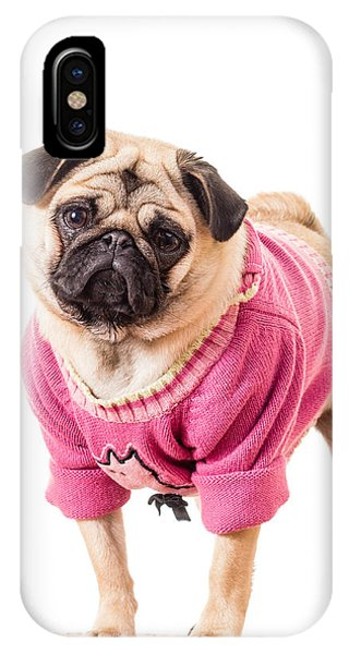 Pug iPhone X Case - Cute Pug Wearing Sweater by Edward Fielding