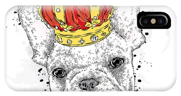 Watercolor Pet Portraits iPhone Case - Cute Puppy Wearing A Crown. French by Vitaly Grin