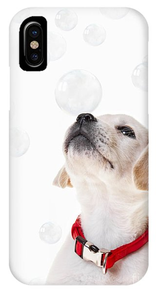 Yellow Lab iPhone Case - Cute Puppy With A Soap Bubble On His Nose. by Diane Diederich