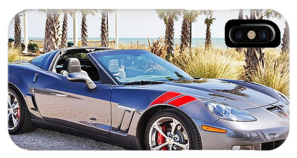 Cyber Gray Grand Sport Corvette At The Beach IPhone Case