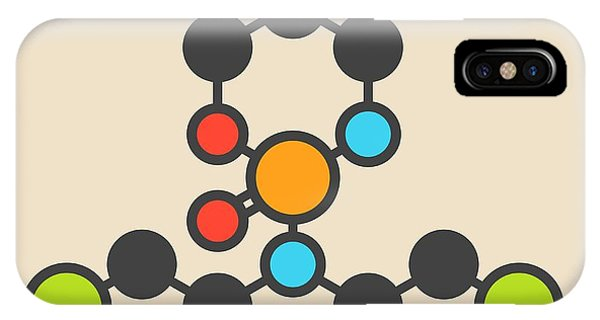 Mustard iPhone Case - Cyclophosphamide Cancer Drug Molecule by Molekuul