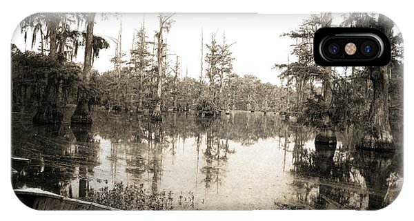 Deciduous iPhone Case - Cypress Swamp -sepia by Scott Pellegrin