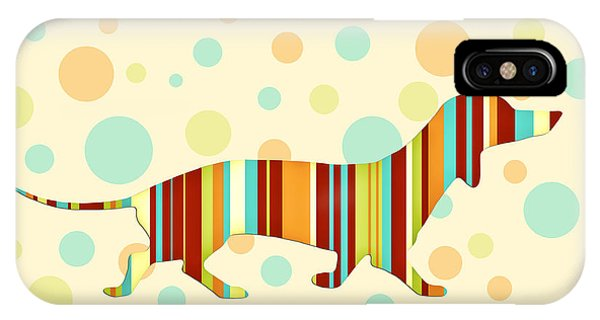 Dog iPhone X Case - Dachshund Fun Colorful Abstract by Natalie Kinnear