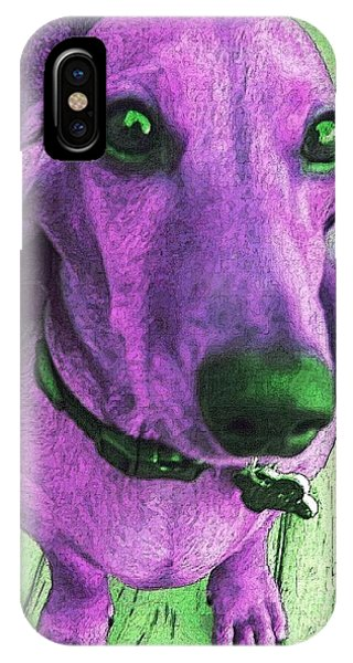Dachshund - Purple People Greeter IPhone Case