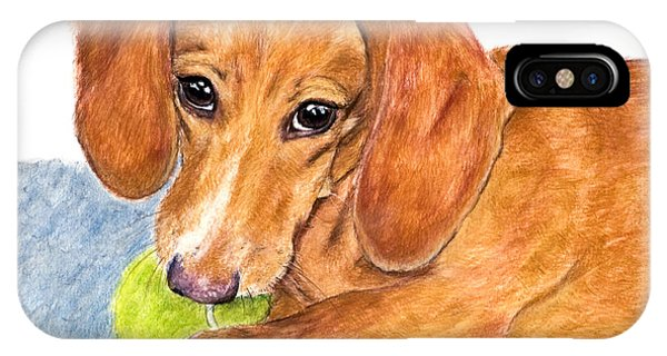 Dachshund With Tennis Ball IPhone Case