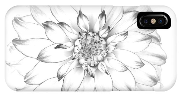 Dahlia Flower As Drawing In Black And White. Phone Case by Rosemary Calvert