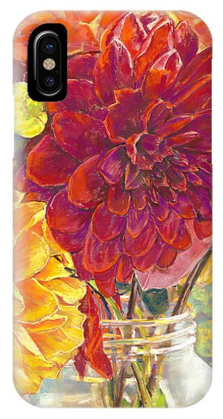 Dahlias In A Canning Jar IPhone Case