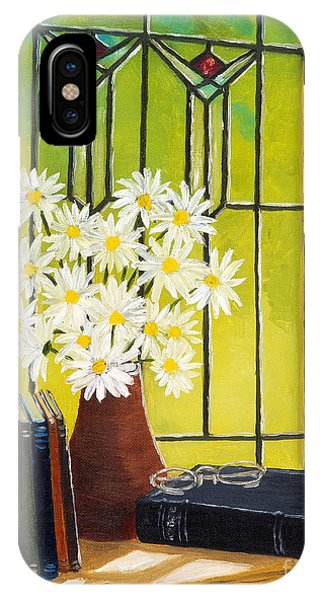 Daisies And Stained Glass Window IPhone Case