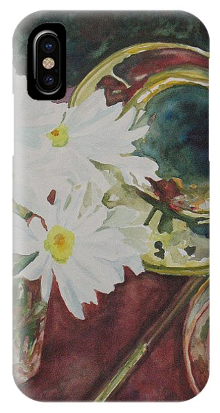 Trombone iPhone X Case - Daisies Bold As Brass by Jenny Armitage