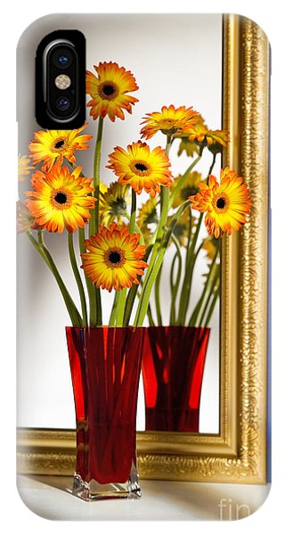 iPhone Case - Daisies In Red Vase by Tony Cordoza