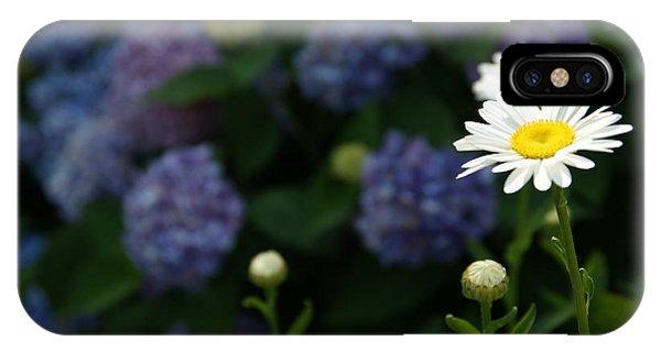 Daisy Among Hydrangeas Phone Case by Leigh Ann Hartsfield