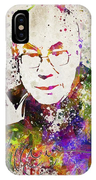 Buddhism iPhone Case - Dalai Lama In Color by Aged Pixel